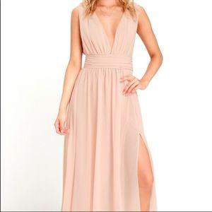 Lulu's Plunging V-Neck Chiffon Dress